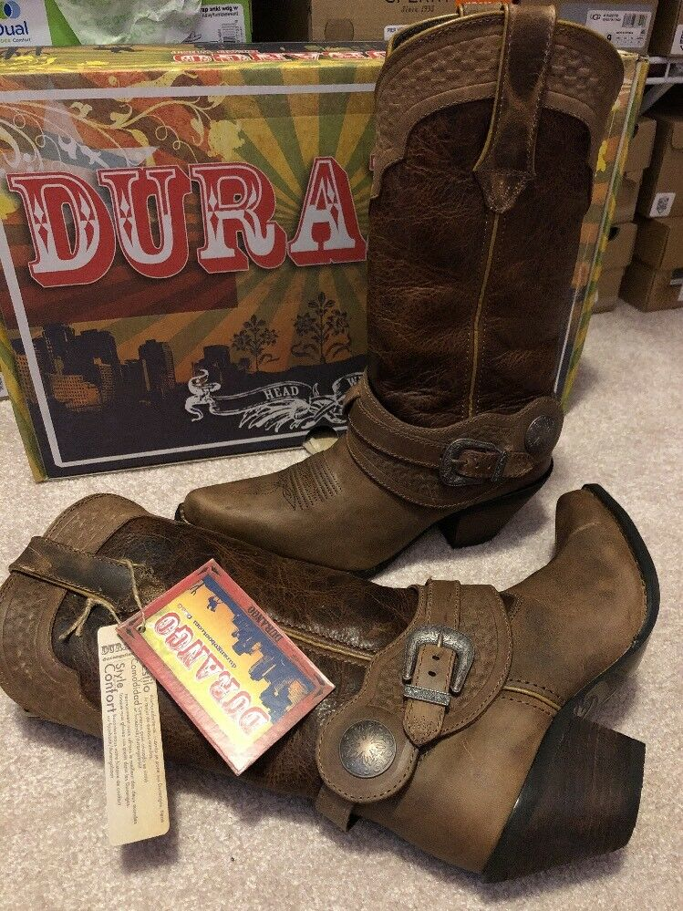 Durango DCRD172 Crush Brown Leather 12  Spur Strap Western Cowgirl Boots 7 M