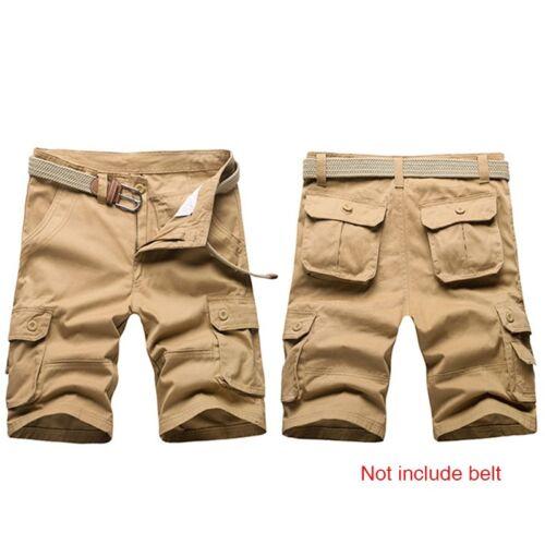 Hommes Short Cargo Été Pantalon Court Armée Demi Pantalon Couleur Unie Sans Ceinture NOUVEAU