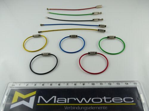 Schlüsselring aus Drahtseil 1,5x 110mm Edelstahl Ø35mm Schlüsselring div. Farben