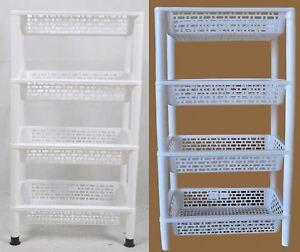 New 4 Level Plastic Shelf Stand Storage Tray Home Storage Organizer White/Blue