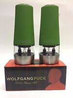 2 Wolfgang Puck Kitchen Salt & Pepper Mills Battery Operated Grinder Spice Green