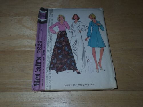 1973 McCall's Sewing Pattern 3829 Misses Top, Pants, Skirt Size 12 Bust 34 Uncut
