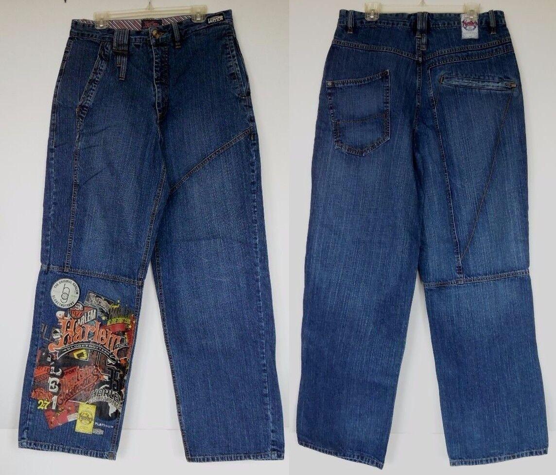 Mens Platinum FUBU Harlem Globetredters Print Loose Baggy Jeans Size 34 X 34