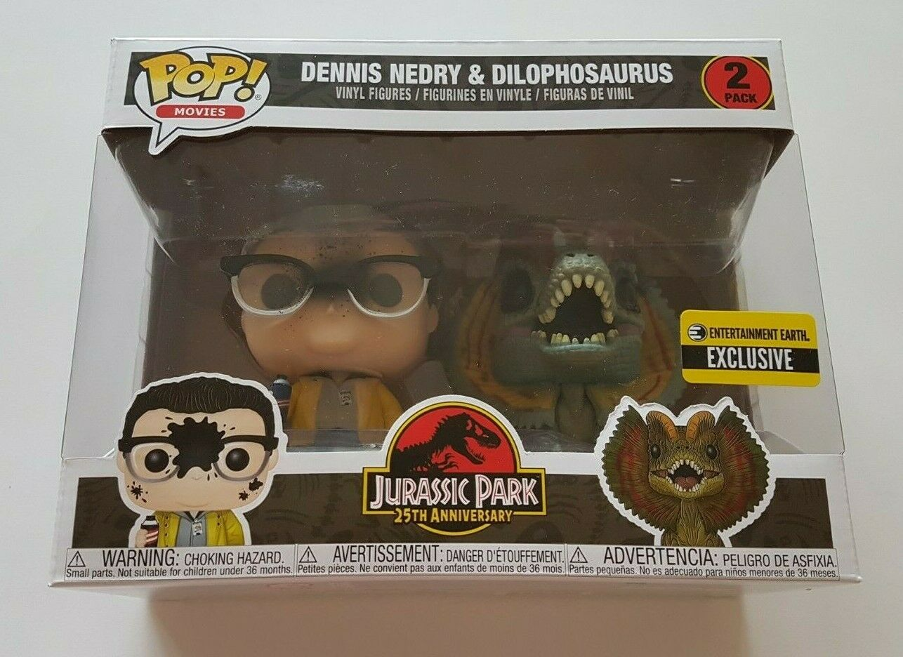 Funko POP Movies Jurassic Park Dennis Nedry & bon lot  de 2 Exclusive  autorisation de vente de la marque