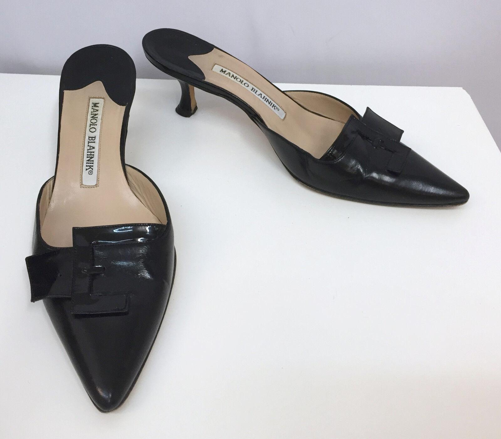 Manolo Blahnik Mulas Zapatos Negro Cuero Hebillas De Patente Talla Talla Talla 36  barato