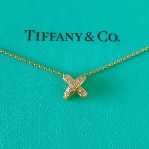 "f68413781 Tiffany & Co. 18k Yellow Gold Diamond Cross X Pendant Necklace 16"" W ..."