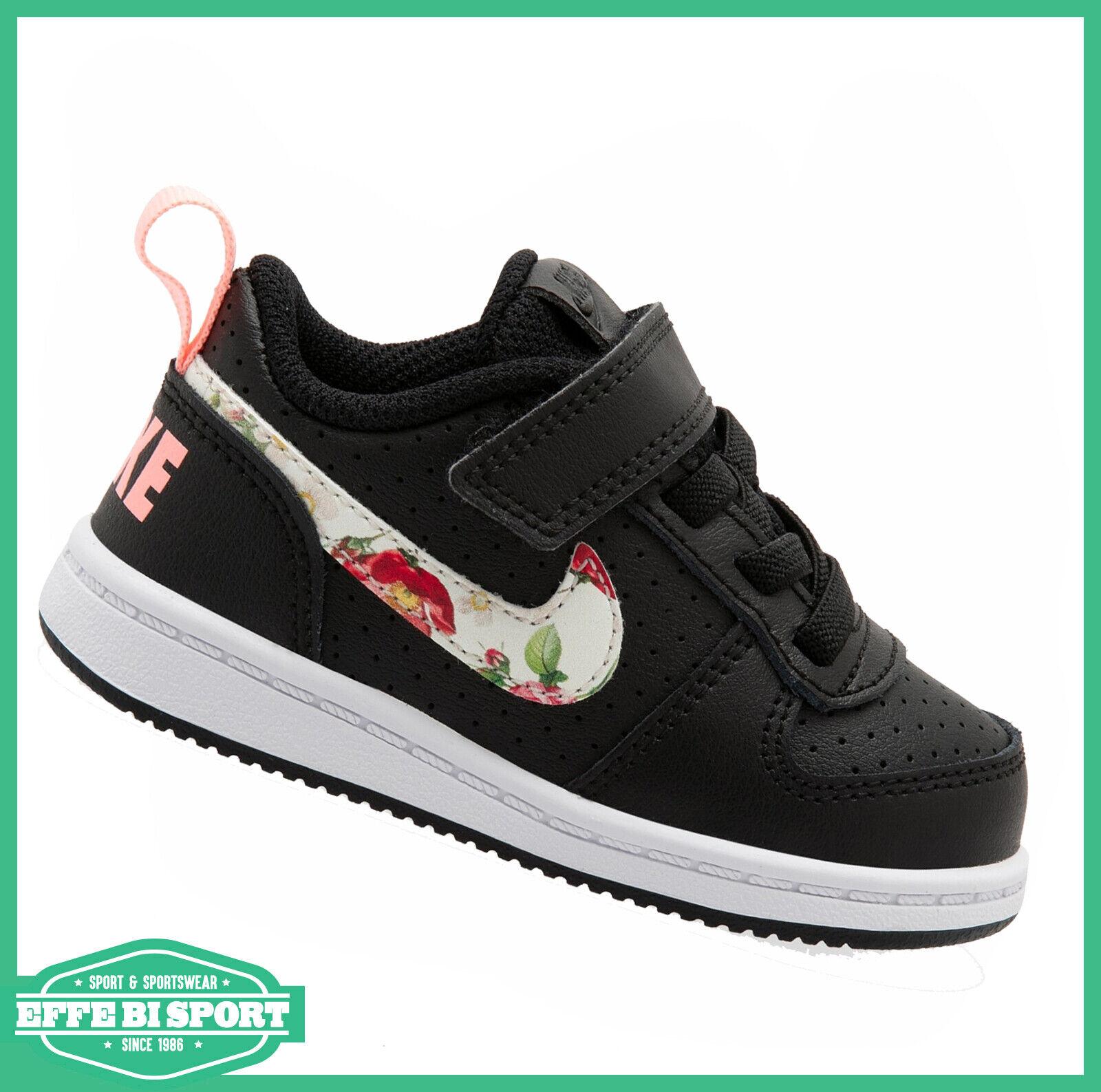 Dettagli su Scarpe Nike bambina Court borough sneakers nera in pelle per tempo libero sport
