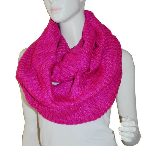 Soft HotPink Sparkling Knit Warm Winter Circle Cowl Loop Infinity Scarf