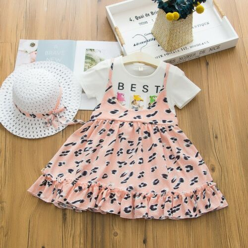 Baby Kids Girls Short Sleeve Leopard Printed Fake two Set Dress With Hat Outfit