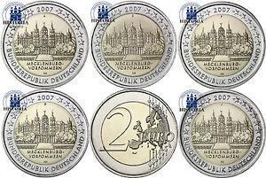 Deutschland-5-x-2-Euro-2007-bfr-Schweriner-Schloss-Mzz-A-J-im-Muenzstreifen
