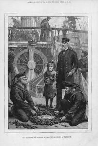 1881-Antique-Print-PORTSMOUTH-SHIP-Old-Victory-Anniversary-Trafalgar-180