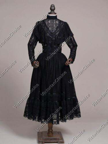 Victorian Costumes: Dresses, Saloon Girls, Southern Belle, Witch    Black Edwardian Vintage Lace Overlay Penny Dreadful Gown Steampunk Costume N 030 $159.00 AT vintagedancer.com