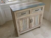 Shabby Chic Wooden Cupboard/sideboard With Draws In A Painted Washed Finish 3035