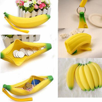 Novelty Silicone Portable Banana Coin Pencil Case Purse Bag Wallet Pouch Keyring