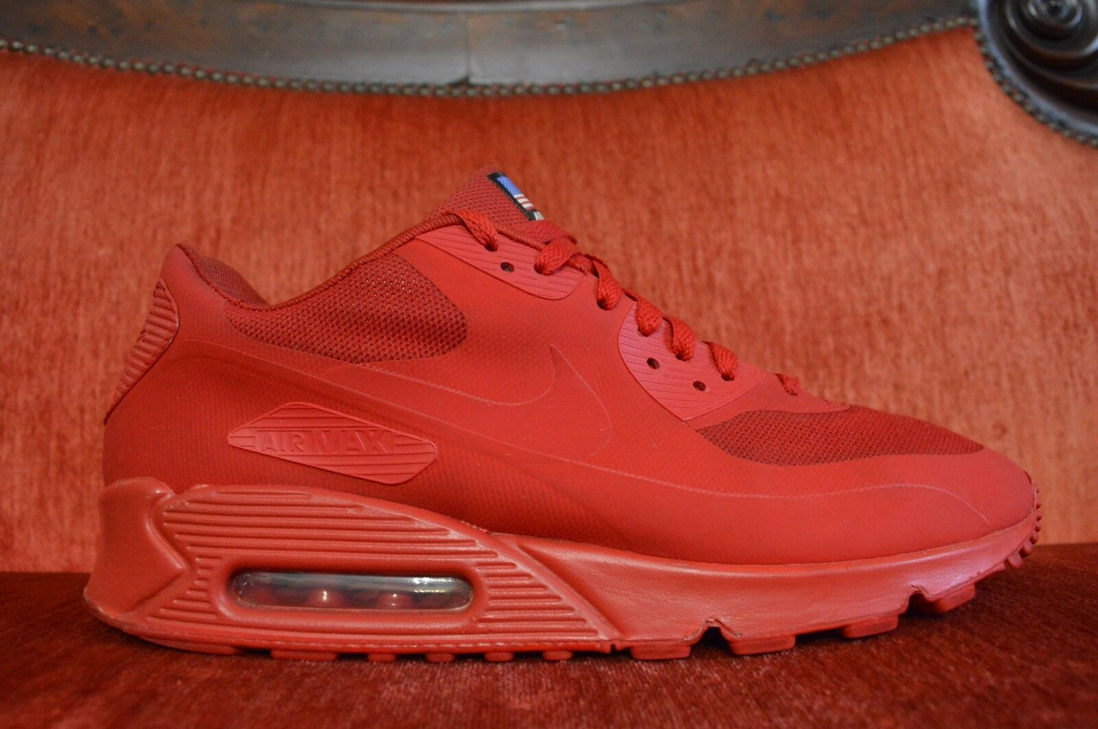NIKE AIR MAX 90 HYPERFUSE QS SPORT RED INDEPENDENCE DAY 613841-660 SIZE 11
