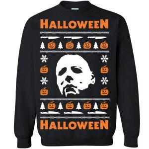 Details about 650 Halloween Crew Sweatshirt Ugly christmas sweater slasher  costume horror