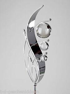 gartenstecker edelstahl und glas moderne gartendeko pflanzenstecker welle 140 cm ebay. Black Bedroom Furniture Sets. Home Design Ideas