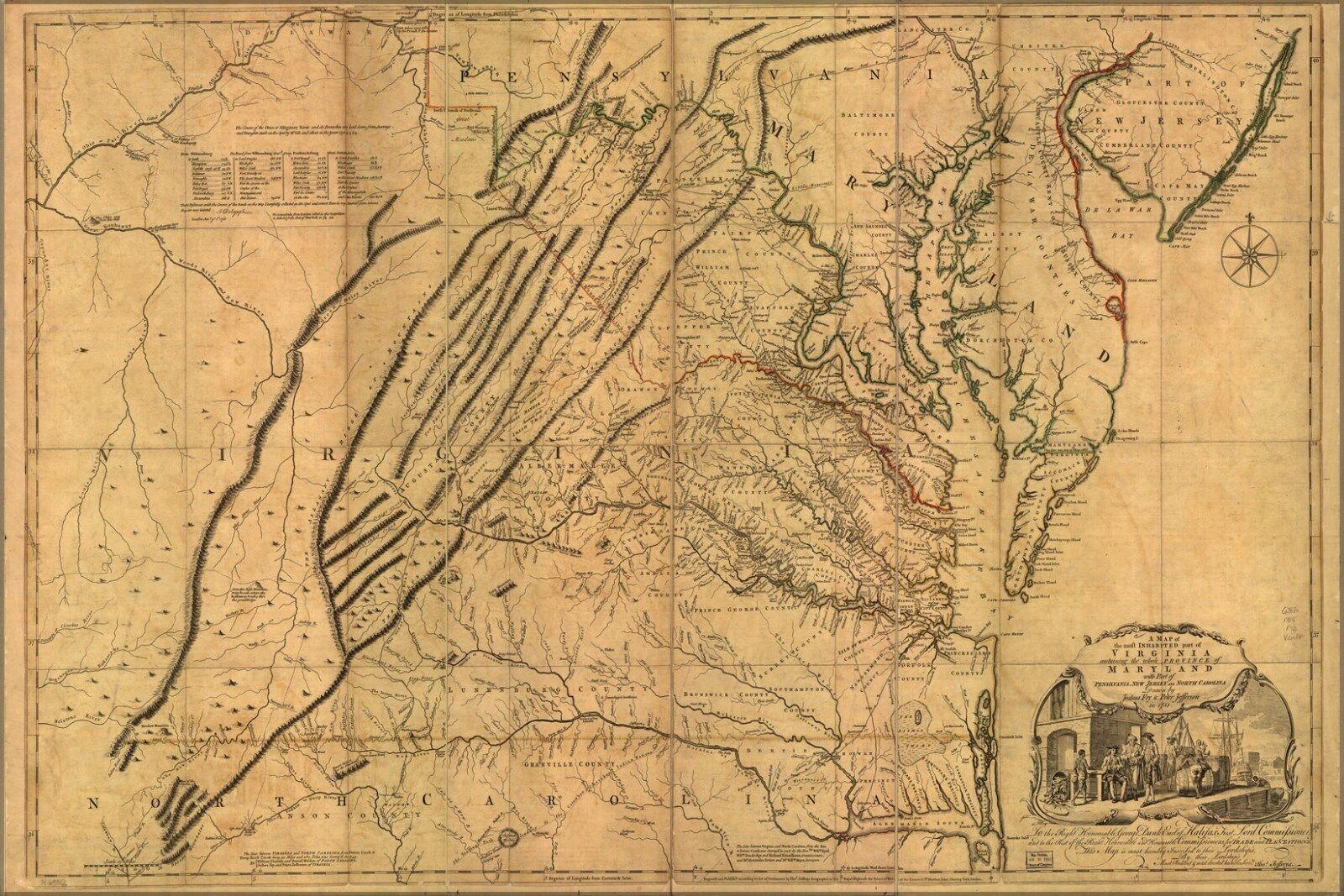 Poster, Many Größes; Map Of Virginia & Maryland 1755