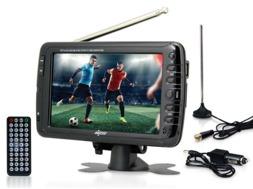 """USB//SD Slot AXESS TV1703-7 7/"""" LCD Portable//Rechargeable Digital TV AC//DC Power"""