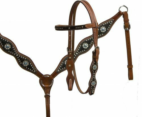SHILOH HAIR ON COWHIDE HEADSTALL AND BREAST COLLAR SET 12683