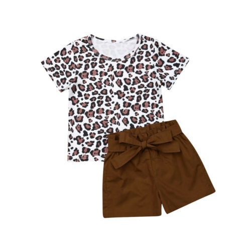2pcs Toddler Kids Baby Girl Summer Clothes Leopard Print Tops Short Pants Outfit