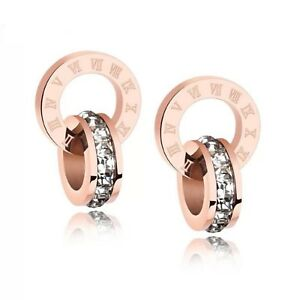 Rose-Gold-Color-Bulgaria-Bijoux-Bulgare-Roman-Numeral-Zirconia-Ring-Stud-Earring