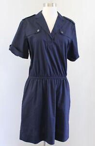 Brooks Brothers Womens Navy Blue Short Sleeve Utility Shirt Dress Size 10 Collar