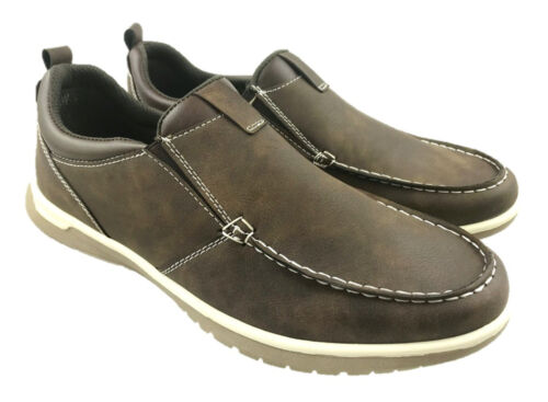 MENS FAUX LEATHER SLIP ON FLAT CASUAL SUMER LEISURE SHOES BROWN UK 7-12