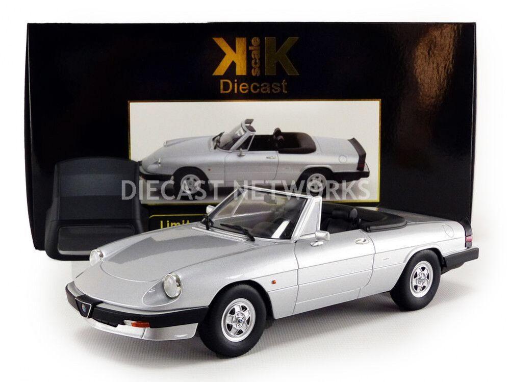 KK SCALE MODELS 1986 Alfa Romeo Spider 3 serie 2 con Softtop argento 1 18 LE500