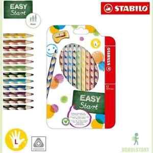 Stabilo-EASYcolors-LINKSHANDER-12er-Pack-mit-Spitzer-dreikant-Buntstifte-NEU-OVP