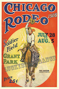 CHICAGO-RODEO-1928-VINTAGE-RODEO-POSTER-GRANT-PARK-SOLDIER-FIELD-COWBOY