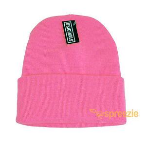 c95576dcef2 Pink Beanie Plain Knit Ski Hat Skull Cap Cuff Warm Winter Blank ...