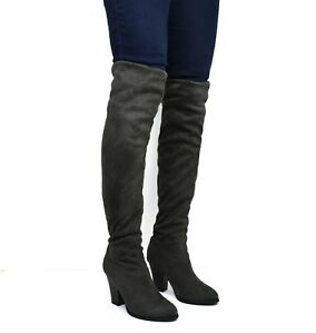 Ladies Solid Block Heels Pull On Over The Knee Thigh Boots Elegant Casual Shoes