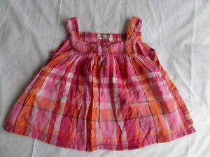 H-amp-m-filles-carreaux-rose-sans-manches-printemps-ete-femme-taille-4-5-ans