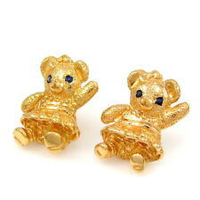 Designer IVANKA 18k Yellow Gold Sapphire Eye Teddy Bear Stud Earrings | GM BAE