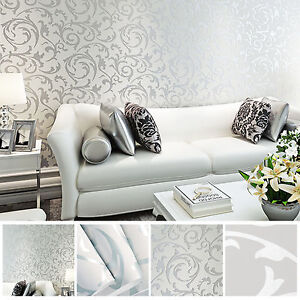 3d Victorian Damask Luxury Embossed Wallpaper Roll Silver Grey