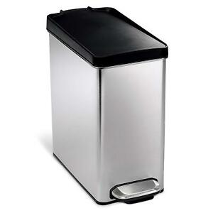Details about Brushed Stainless Steel Rectangle Office Kitchen  Garbage/Trash Can w Foot Pedal