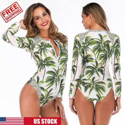 Women Long Sleeve UV Sun Protection UPF 50 Rash Guard One Piece Swimsuit Bikini