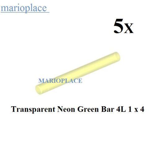 NEW Lightsaber Blade // Wand LEGO LOT OF 5 Transparent Neon Green Bar 4L 1 x4