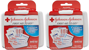 2 pack JOHNSON & JOHNSON First Aid to Go Kit 12 Items