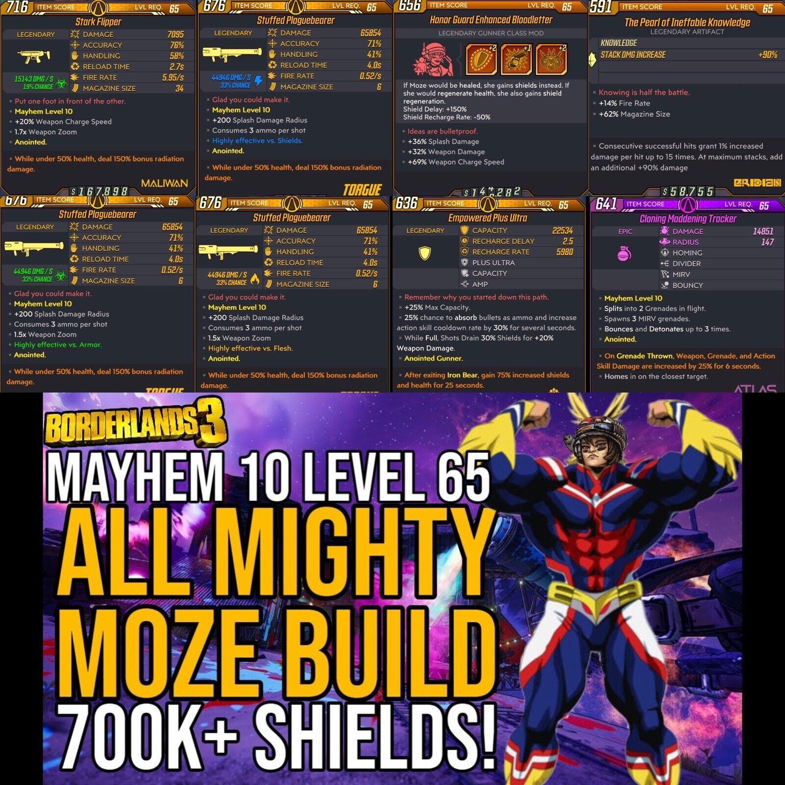 Borderlands 3 Xbox/PC - Level 65 Mayhem 10 All Mighty Moze Build 8 Items