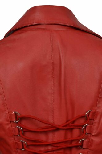Nemesis Ladies Women Red Wash Wax Real Leather Laced Back Jacket Coat Gothic