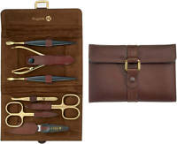 Niegeloh Solingen Leather Manicure Set Alamo XL 24ct Gold-Plated Tools Germany