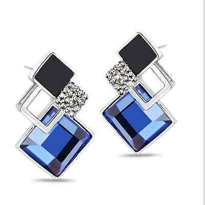 Fashion Women Geometry Rhombus Crystal Ear Stud Earrings Party Jewelry Gift