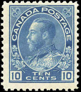 Mint-H-Canada-10c-1911-25-F-Dry-Printing-Scott-117a-KGV-Admiral-Issue-Stamp