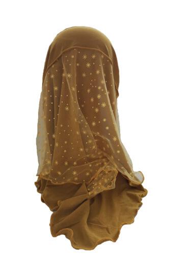 Kids Girls Lace Hijab Caps Muslim Head Scarf Shawls Islamic Hats Underscarf Arab
