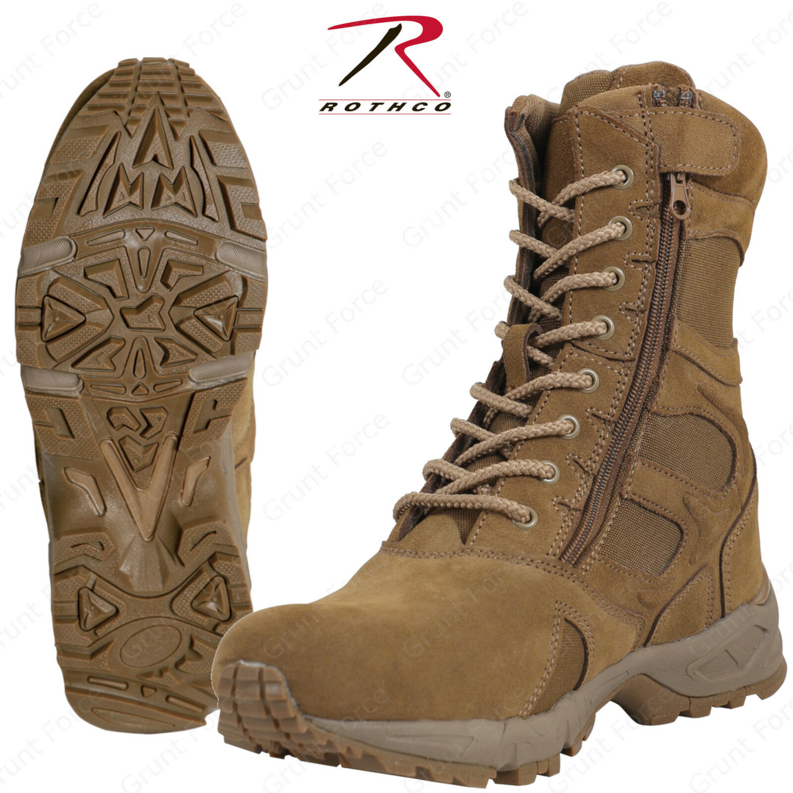 redhco Forced Entry 8  Deployment Boots w  Side Zipper - AR 670-1 Coyote Brown