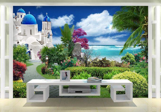 3D Villa al mare. 56 Parete Murale Carta da parati immagine sfondo muro stampa