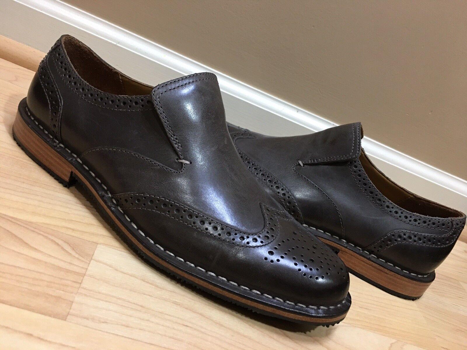 NEW MENS SEBAGO grigio BRATTLE LEATHER SLIP ON OXFORD scarpe US 8.5 M 100%AUTHENTIC