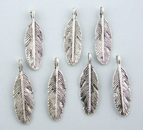 45 PCs Silver Tone Feather Pendants Findings 9x30mm